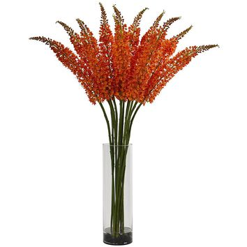 Silk Flowers -Orange Fox Tail Arrangement In Glass Cylinder Arrangement