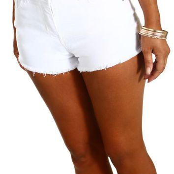 Holy Hell White Frayed Denim Hot Pants