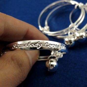 Fashion Child 2pcs 925 Sterling Silver Baby Kids Bell Bangle Bracelet Jewelry