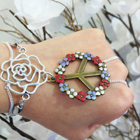 Peace Rose Slave Bracelet Ring. White Rose Flower and Colorful Flower Peace Sign. Sterling Silver Chain. Beaded. Sized