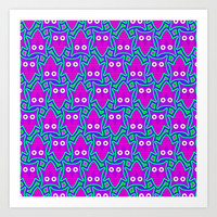 Purple and Turquoise Psychedelic Owl Pattern Art Print by Hippy Gift Shop