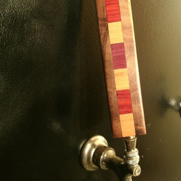 Exotic Hardwood Beer Tap Handle - Upcycled Wood Pull Handle - Custom Repurposed Wood -Ready to Ship