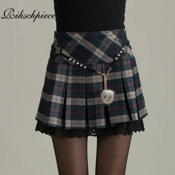 Rihschpiece Sexy Mini Skirt Women High Waist Vintage Pleated Skirts Womens Winter Gothic Lolita Retro Tutu Skirt RZF674