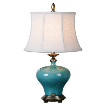 Uttermost Daveigh Teal Blue Ceramic Table Lamps - 27107