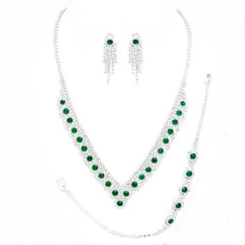 Emerald green Bubble V-shape Drop Rhinestone Necklace Earrings Set