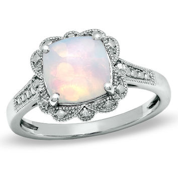 8.0mm Cushion-Cut Lab-Created Opal Vintage-Style Ring in Sterling Silver - Size 7 - View All Rings - Zales
