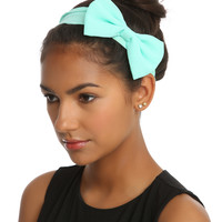 Mint Chiffon Bow Stretchy Headband