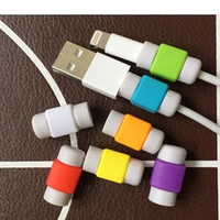 Hot sell 2pcs candy color charging line protection data cable headset protection Earphone protector For iphone For ipad line (Color: Multicolor) [7956844999]