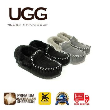 jacklish UGG Ladies Popo Moccasins Slippers, Premium Australian Sheepskin