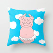 Dancer pig Throw Pillow by Dettagli by Roberta ,Italy