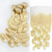 Malaysian Blonde Human Hair Lace Frontal 13x4 With 3 Bundles or 4 Bundles Color #613 Body Wave