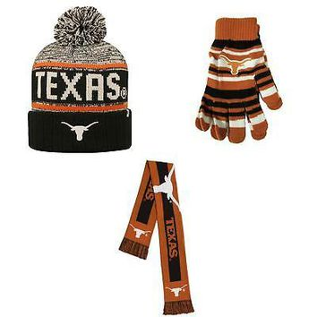 Licensed Texas Longhorns Glove Solid Knit Big Logo Scarf And Acid Rain Beanie Hat 18814 KO_19_1