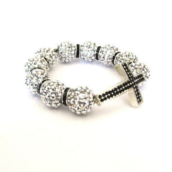 Sideways Cross Bracelet in silver with black by SassyBelleWares