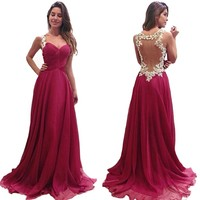 FashionWomen New Womens Deep V-neck Sexy Long Formal Party Dress