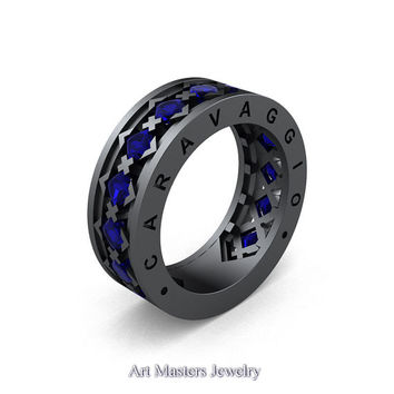 Caravaggio Mens Modern 14K Grey Gold Princess Blue Sapphire Wedding Band R313M-14GGBS