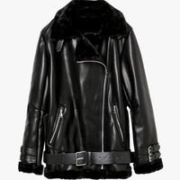 Faux Leather Oversized Moto Jacket