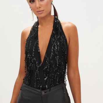 Black V-neck Halter Backless Sequin Detail Bodysuit