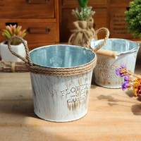 ISHOWTIENDA Vintage Metal Iron Keg Flower Pot Hanging Balcony Garden Plant Planter Decor Pot Small Iron Pots