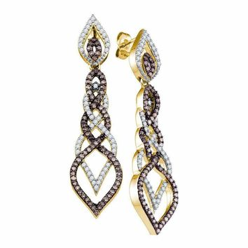 10kt Yellow Gold Womens Cognac-brown Color Enhanced Diamond Dangle Earrings 1-1-2 Cttw - FREE Shipping (US/CAN)