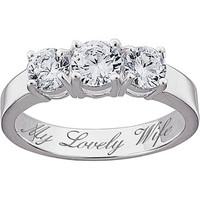 Walmart: Personalized Sterling Silver CZ Trio Promise & Engagement Ring