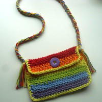 Crochet purse mini rainbow colors by Flowerswithflare on Etsy