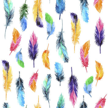 Rainbow Feathers Removable Wallpaper Decal