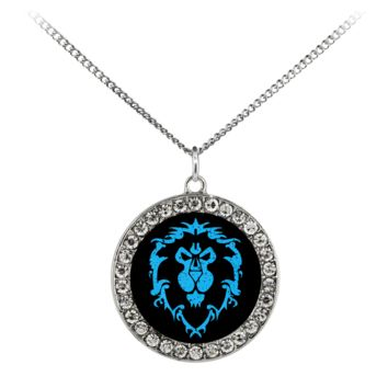 """World of Warcraft """"For the Alliance"""" Stone Coin Necklace"""