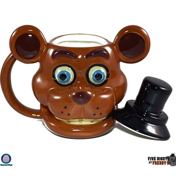 16oz Steam OFFICIAL Five Nights at Freddy's FNaF Freddy Fazbear PREMIUM Ceramic Coffee Mug GIFT with Lid
