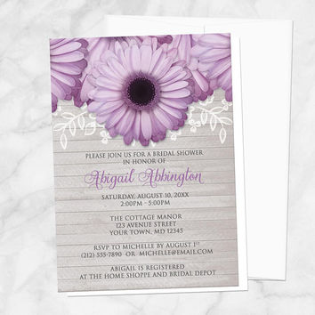 Purple Daisy Bridal Shower Invitations - Rustic Floral and Light Gray Wood - Printed Daisy Invitations
