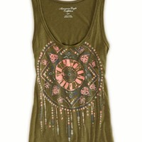 AEO Women's Southwest Graphic Tank (Olive)