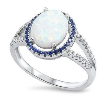 Womens White Lab Opal Blue Sapphire CZ Halo Ring .925 Sterling Silver Sizes 4-10