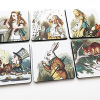 square Alice in Wonderland Coasters 3.5 inch rubber neoprene drink beverage mad hatter drink me