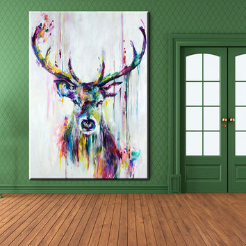 Big Paintings For Living Room. xh181 Big Triptych Watercolor Deer Head Poster Print Abstract Animal  Picture Canvas Painting No Frames Living Shop on Wanelo