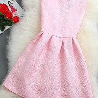 New Women Pink Plain Pleated Zipper Round Neck Mini Dress