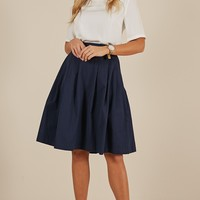 Square Up midi skirt in Navy Produced By SHOWPO
