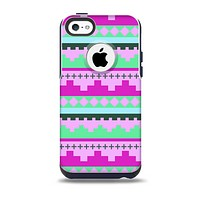 The Lime Green & Purple Tribal Ethic Geometric Pattern Skin for the iPhone 5c OtterBox Commuter Case