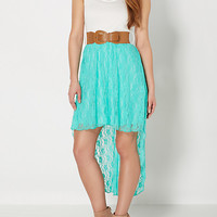 Mint Lace High-Low Belted Dress