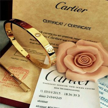 CARTIER 18k Yellow Gold 4 DIAMOND LOVE BRACELET AUTHENTIC WITH NEW SCREW SIZE 16