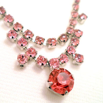 Vintage Silver and Pink Rhinestone Necklace