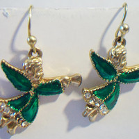 Green Angel Earrings Blowing Horn Christmas Holiday Costume Jewelry Gold Tone Wire Hook