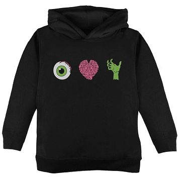 Halloween Eye Heart Zombies Toddler Hoodie