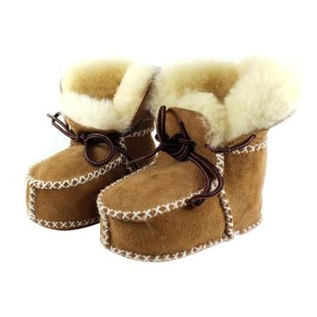 Super Warm Infant Soft Bottom Snow Boots Lace Up Baby Boys Girls Moccasins Shoes Baby Prewalker Boots Camel Grey Available