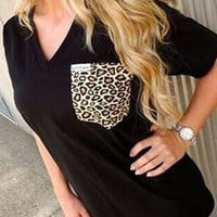 Black Half Sleeve Leopard Print Pocket T-Shirt
