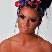 Lena Blue Tartan Bow Headband | Pink Boutique