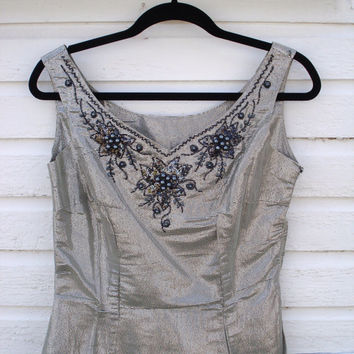 Vintage 1950s Silver Blouse Metallic Sequins Pearls Beads 2013546