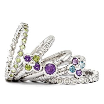 Sterling Silver, Multi Gemstone Spring Flower Stackable Ring Set