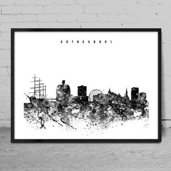 Gothenburg Watercolor Print, sweden watercolor Art, Wall art,Gothenburg  Skyline, Cities Art, Wall Art, typography art, Decor-x103