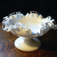 Vintage Fenton Silver Crest Footed Milk Glass Bowl with Ruffled Clear Glass Edges