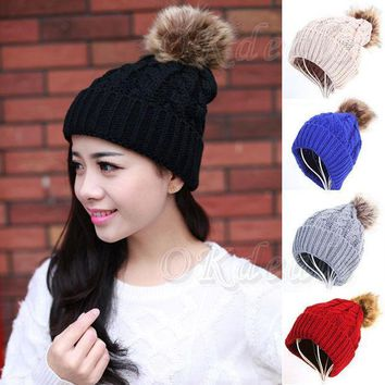 ESBU3C 2016 Ho Fashion Women Girls Warm Winter Wool Knit Beanie Soft Farmed Raccoon Fur Pom Bobble Hats Crochet Ski Cap Top Quality