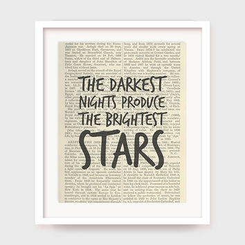 Downloadable Prints, The Darkest Nights Produce The Brightest Stars, Inspiring Quote Printable, Instant Download